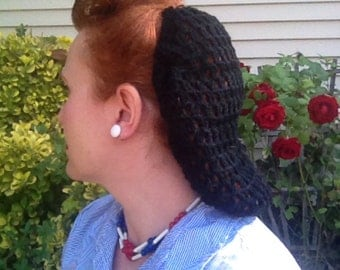 "Hair Snood ""V for Victory"" Crocheted from Vintage 1940's Design PICK A COLOR Retro Pinup"