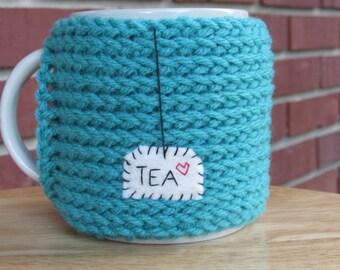 hand knitted tea mug cozy cup cozy in jade green
