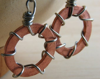 Copper Dangle Earrings Wire Wrapped Hardware Jewelry Industrial Washers