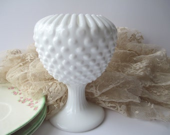 Vintage Fenton Milk Glass Hobnail Ivy Ball Vase
