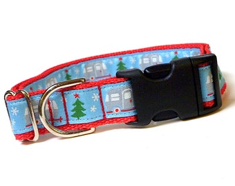 "1"" wide CHRISTMAS CAMPERS red Dog Tag Collar"