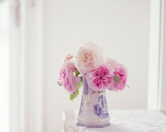 Still Life Photo, English Roses, Pink, Nursery Art, White, Flower Photography, Rose Photo, Pink Roses, Floral Still Life, Rose Bouquet