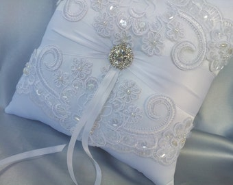 White Wedding Pillow Elegant White Beaded Alencon Bridal Lace Rhinestone Wedding Ring Bearer Pillow White Lace Ring Pillow