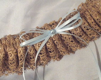 Gold Venise Lace Bridal Garter Blue Bows and Pearl Wedding  Garter