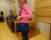 Blue hand crocheted purse