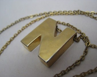 N Initial Necklace Gold Vintage Pendant