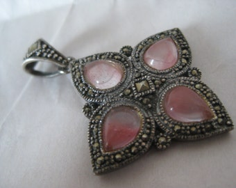 Pink Marcasite Teardrop Sterling Pendant Vintage 925 Silver
