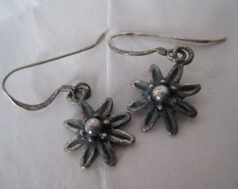 Flower Sterling Silver Earrings Pierced Wire Vintage Dangle 925