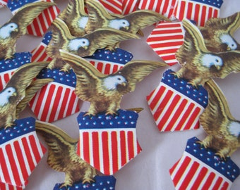 18 Eagle American Shield Decal Sticker Seals Vintage Gold Red White Blue USA