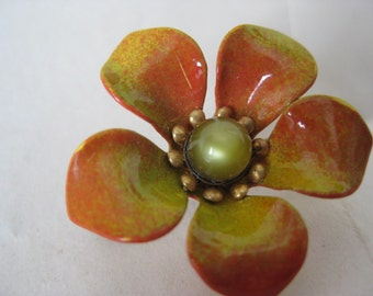 Flower Enamel Brooch Orange Yellow Green Gold Vintage Pin