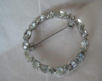 Circle Rhinestone Silver Brooch Vintage Pin Clear