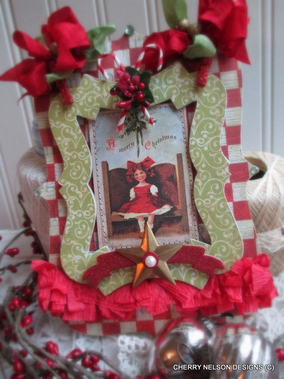 cottage christmas plaque-LITTLE GIRL under MISTLETOE christmas stitched handmade sign