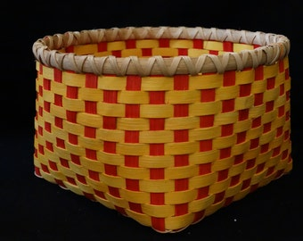 Hand Woven Basket in Golden Yellow and True Red. Storage Basket.  Hand made baskets in fun colors!