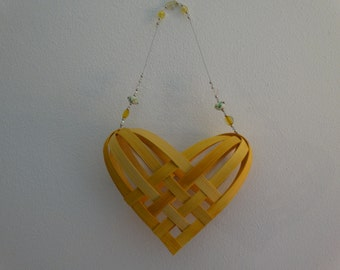 Hand Woven  Basket in Lemon Yellow with beaded handle.  Heart Basket.  Gift basket.  Baskets. Hand Made Baskets in fun colors!