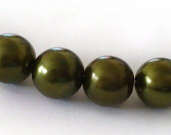10pcs- 12mm Dark Olive Green acrylic beads