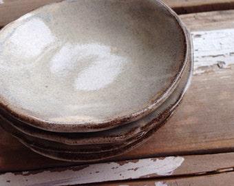Set of four rustic handbuilt mini bowls