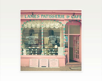 Architecture Photography, Cafe Photo, Turquoise, Pink and Cream, England Photograph, Kitchen Decor - Sweet Cafe