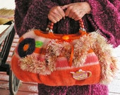 The Mad Hatter's Tea Party   A Large Felted Purse in Shades of Orange and Apricot