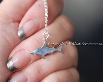 Shark Necklace - Solid 925 Sterling Silver Flat Plate Charm Pendant - Free Domestic Shipping