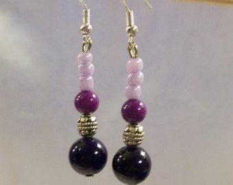 Purple Gemstone Earrings With Sterling Silver Earwires