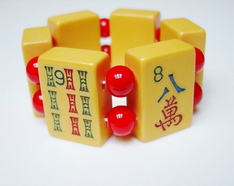 Butterscotch Bakelite Mahjongg Tile Bracelet with Bright Red Glass / Vintage / 1930s / 1930 / Mah Jong / Mahjong / Mah Jongg / size SMALL