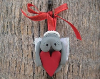 Angel Manatee with Heart Ornament