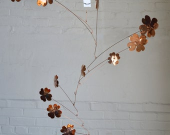 Free Shipping on Copper Mobile Art - 14 leaf Dogwood Blossom Handmade Mobile fired finish