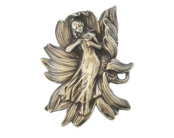 Vintage Art Nouveau Brooch, Lady In Lotus Water Lily, Sterling Silver C Clasp Pin, 1900s Antique Art Nouveau Jewelry, Nouveau  Jewellery