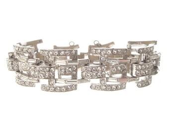 Art Deco Bracelet, Wide Baguette Rhinestone Cuff, Original 1920s Art Deco Jewelry, Wedding Jewelry