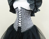 "Black White Thin Pirate Stripe Vaude Under Bust Corset-To Fit 23-25"" Waist"