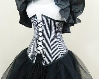 """Black White Thin Pirate Stripe Vaude Under Bust Corset-To Fit 23-25"""" Waist"""