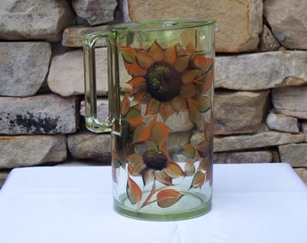 Hand Painted Light Green Pitcher with Autumn Sunflowers