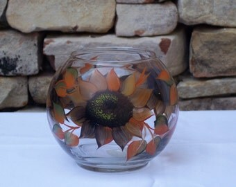 Hand Painted Round Glass Bowl with Autumn Sunflowers