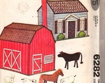 1970s  McCalls 6282 Farm House Barn and Stuffed Animals Pattern Horse Pig Sheep Chicken Bunny Vintage Toy Sewing Pattern UNCUT