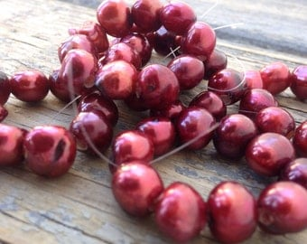 Large Hole Pearl Baroque Pearl Nugget Pearl Freshwater Pearl burgundy red 2.5mm hole---10 pc 9-11mm  #LH8046