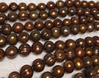 "Freshwater Pearl round potato pearl Light Brown pearl----7-8mm Full Strand 15"" 50pc  #RS2057"