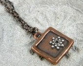 Handmade Copper Square Necklace Silver Star Floating in Pendant A2457B4