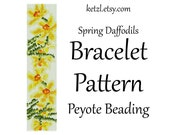 Peyote Stitch Bracelet Patterns Beading Pattern Beading Patterns  with Word Chart Bead Weaving Graph Seed Bead Yellow Daffodil Flowers