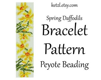 Peyote Stitch Bracelet Patterns Beading Pattern Beading Patterns  with Word Chart Bead Weaving Graph Seed Bead Yellow Daffodil Flowers