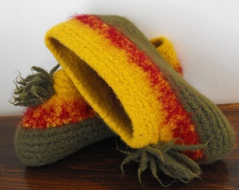 Wool Slippers for Women Hand Knit and Felted Great for Christmas Morning