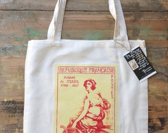 Vintage French postage stamp tote bag
