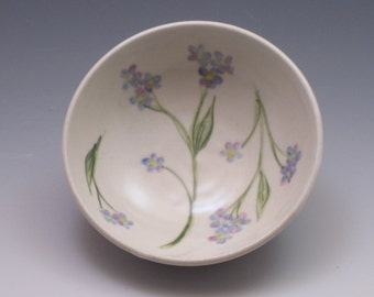 Pottery Bowl / Food Prep Bowl / Small Porcelain Bowl, handpainted with Forget-Me-Not flowers