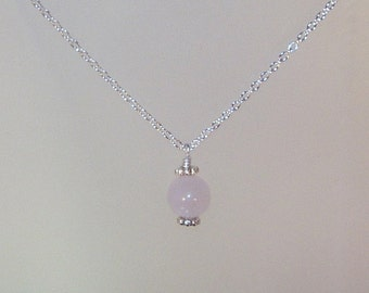 Gemstone Birthstone Necklace - Sterling Silver Filled Necklace - 10mm Rose Quartz Shown