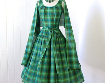 vintage 1950's dress ...2DIE4 TINA LESER Original green madras plaid full skirt pin-up party dress & wrap