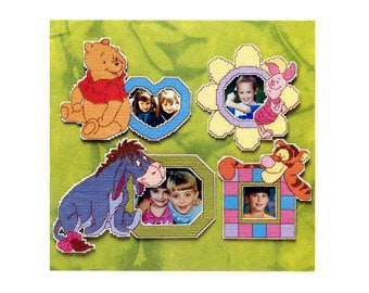 Plastic Canvas Pattern Book Winnie the Pooh and Friends Magnets Fun Time Photo Frames Eeyore Piglet Tigger 16 Designs Cute Kids Room Decor