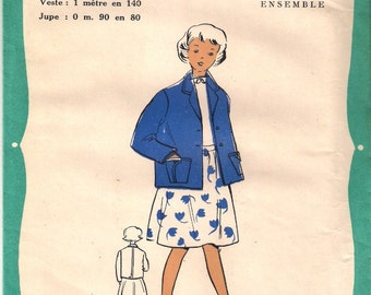 French sewing pattern - girl's skirt and jacket