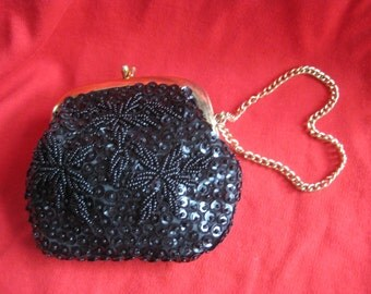 Vintage Hand Beaded Clutch or Change Purse Black Jem