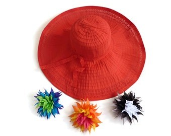 "Women's Summer Hat, Big Brim Sun Hat, Packable Travel Hat, Beach Resort Hat in Red Comes with 3 Interchangeable Brooch Pins -  ""Pin Up Girl"""