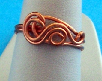 Bright Copper Wire Sculpted Ring