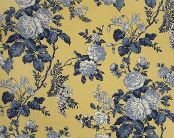 """French Country Curtains,  Blue Yellow Floral Drapes, French Cottage Draperies, French Provincial Window Curtains, One Pair Rod-Pocket 50""""W"""